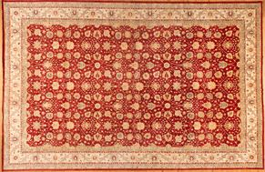 Oushak 82370<div>17 x 26 17 x 26 Red/Beige handspun wool pile Hand-knotted in Pakistan rugs</div>