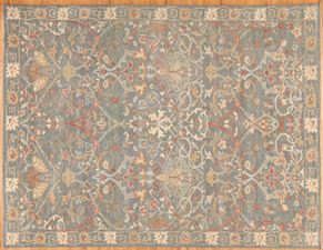 Oushak 86477<div>9 x 12 9 x 12 Light Blue/Multi hand spun wool pile Hand-knotted in Pakistan rugs</div>