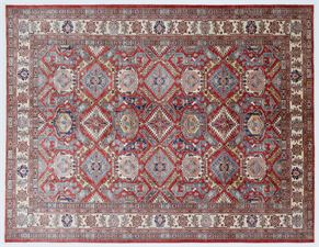 Kazak 87693<div>9 x 12 8-10 x 11-8 Red/Beige hand spun wool pile Hand-knotted in Pakistan rugs</div>