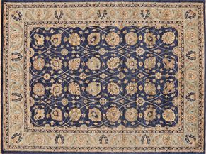 Oushak 87588<div>9 x 12 9-1 x 12-2 Dark Blue/Gray hand spun wool pile Hand-knotted in Pakistan rugs</div>