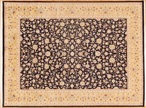 Kashan 80312<div>9 x 12 9-2 x 12-4 Navy/Gold fine wool pile Hand-knotted in Pakistan rugs</div>