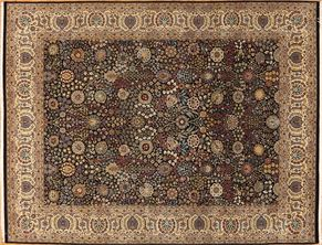 Tabriz 87420<div>9 x 12 9 x 11-10 Black/Ivory fine wool pile Hand-knotted in Pakistan rugs</div>