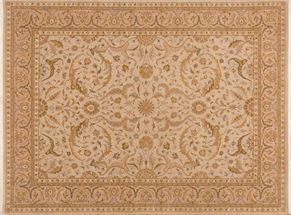 Kashan 84627<div>9 x 12 9 x 12-1 Cream hand spun wool pile Hand-knotted in Pakistan rugs</div>