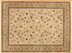Tabriz 87535<div>9 x 12 9 x 12-1 Ivory/Green fine wool pile Hand-knotted in Pakistan rugs</div>