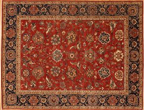 Tabriz 87522<div>9 x 12 9 x 11-10 Rust/Blue hand spun wool pile Hand-knotted in Pakistan rugs</div>