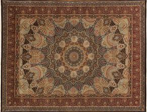 Qum 87510<div>9 x 12 9-1 x 12 Black/Red fine wool pile Hand-knotted in Pakistan rugs</div>