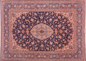 Isfahan 87111<div>9 x 12 8-10 x 12-4 Blue fine wool and silk Hand-knotted in Iran rugs</div>