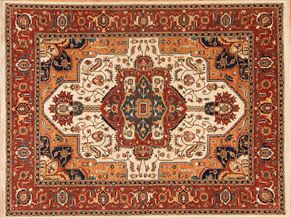 Heriz 85265<div>9 x 12 8-10 x 11-7 Ivory/Rust hand spun wool pile Hand-knotted in Pakistan rugs</div>