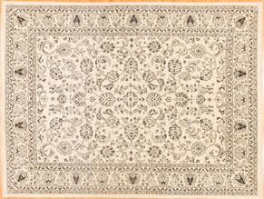 Oushak 85034<div>9 x 12 9 x 12-1 Ivory hand spun wool pile Hand-knotted in Pakistan rugs</div>