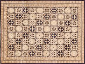 Oushak 85033<div>9 x 12 9 x 12 Navy/Multi hand spun wool pile Hand-knotted in Pakistan rugs</div>