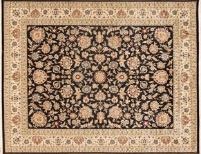 Tabriz 85103<div>9 x 12 9 x 11-6 Black/Ivory fine wool pile Hand-knotted in Pakistan rugs</div>
