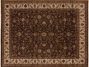 Kashan 85114<div>9 x 12 9 x 11-8 Brown/Ivory fine wool pile Hand-knotted in Pakistan rugs</div>