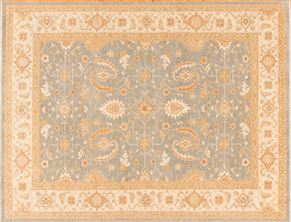 Oushak 83123<div>9 x 12 9 x 12 Gray/Ivory hand spun wool pile Hand-knotted in Pakistan rugs</div>